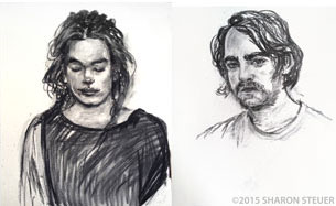 Charcoal drawings of Charlotte and Josh